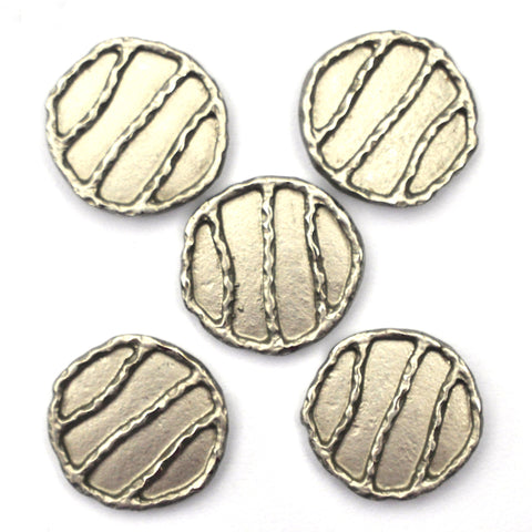 Silver Buttons with Irregular Stripes, Medium - Set of 5