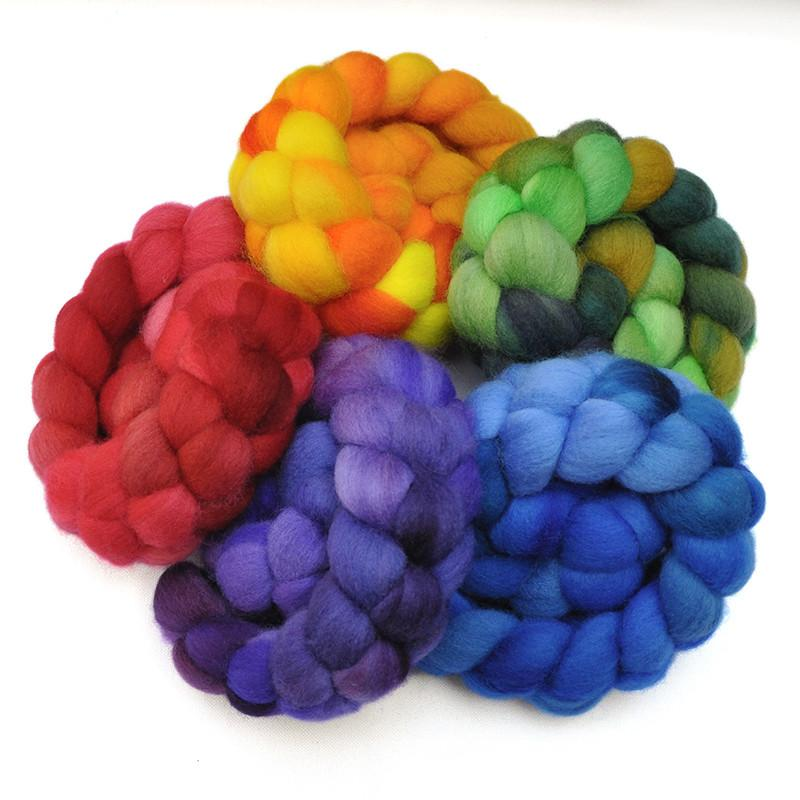 Hand painted Falkland wool roving sampler pack, for hand spinning and felting