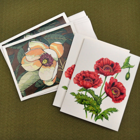 Blank Notecards, Set of Four - Proceeds to Charity - Original Drawings by Ilga - Flowers