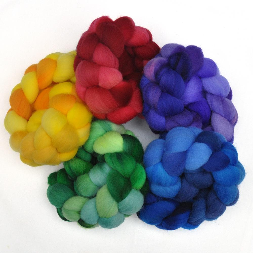 Hand dyed Targhee wool roving rainbow sampler pack for hand spinning and felting