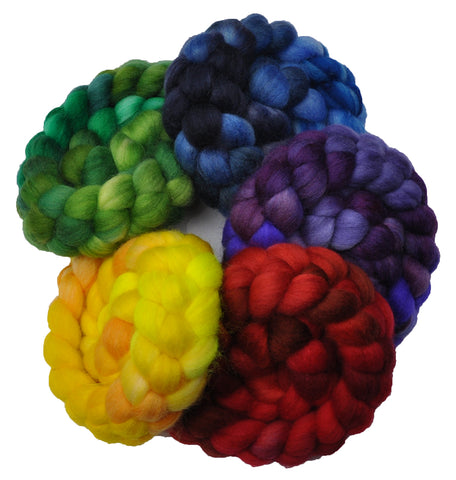 Superwash BFL Wool / Nylon 80/20% Roving Rainbow 5-Pack - 10 ounces