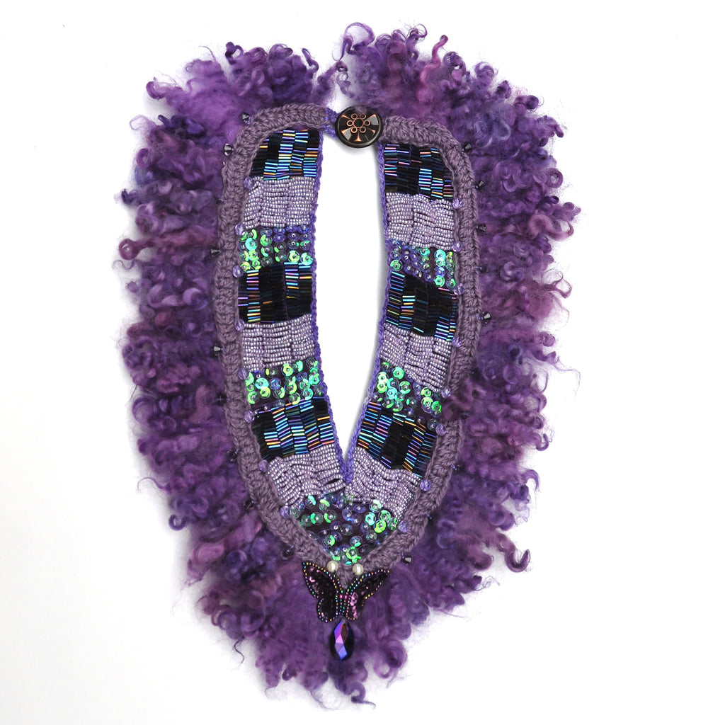Wool and beadwork necklace, front