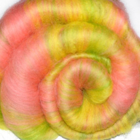 Spinning fiber batt, mixed fibers - Happy Moment - 2.0 ounces