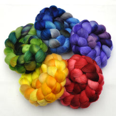 Hand painted Merino wool roving rainbow sampler pack for spinning and felting
