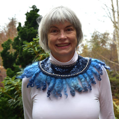 Wool and beadwork necklace, modeled by Janice
