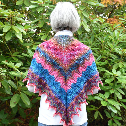 Hand-Knit Lacework Triangular Shawl #4