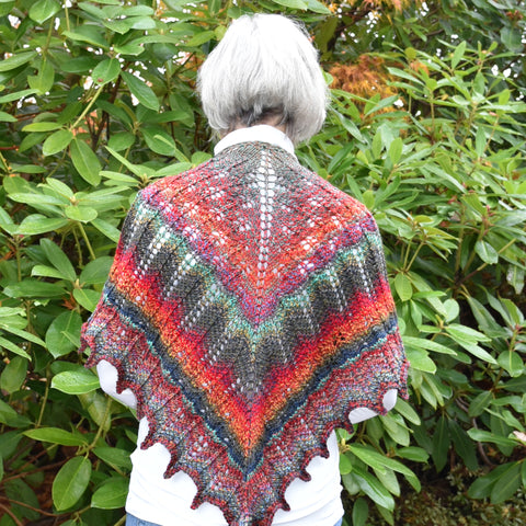 Hand-Knit Lacework Triangular Shawl #1