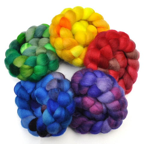 BFL Wool Roving Rainbow 5-Pack - 10 ounces