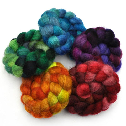 Masham Wool Roving Rainbow 5-Pack - 10 ounces