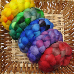 Hand painted BFL wool roving sampler pack for hand spinning and felting