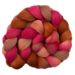 Hand painted Cheviot wool roving for hand spinning