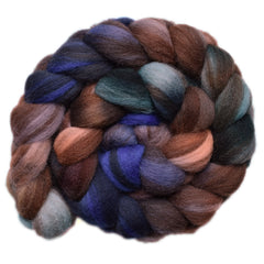 Hand painted Shetland wool roving for hand spinning