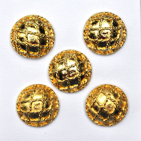 Gold Metal Buttons with grid pattern - Set of 5