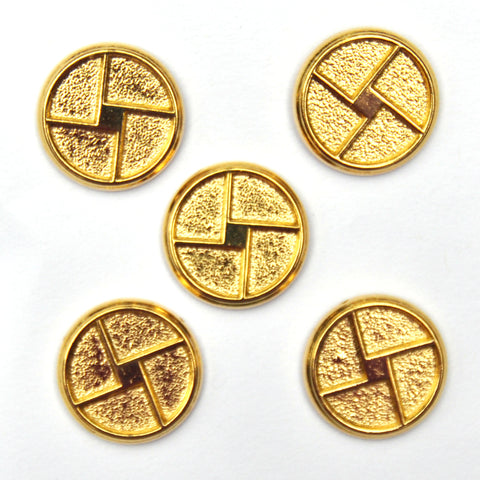 Gold Pinwheel Buttons, Medium - Set of 5