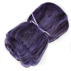 Drum carded mixed fiber batt for spinning and felting