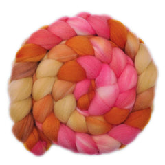 Hand painted Superwash Merino / Nylon roving for hand spinning