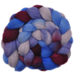 Hand painted BFL wool roving for hand spinning and felting