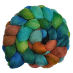 Hand painted Corriedale Cross wool roving for hand spinning and felting