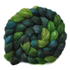 Hand painted Silk / BFL wool roving for hand spinning
