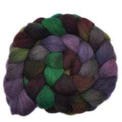 Hand painted Shetland wool roving for hand spinning and felting
