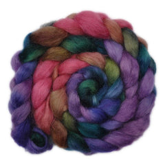 Hand painted Teeswater wool roving for hand spinning and felting