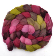 Hand painted Silk / Shetland wool for spinning and felting