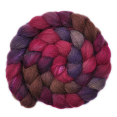 Hand painted Silk / BFL wool for hand spinning and felting