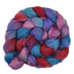 Hand painted BFL wool / trilobal nylon roving for hand spinning