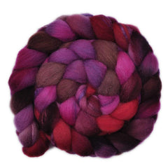 Hand painted Silk / Shetland wool roving for hand spinning and felting