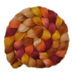 Hand painted Silk / BFL wool roving for hand spinning and felting