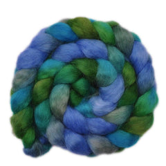 Hand painted Wensleydale wool roving for hand spinning and felting