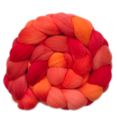 Hand painted Targhee wool roving for handspinning and felting
