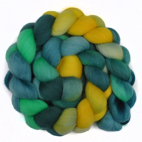 Corriedale Cross Wool Roving - Dandelions 2 - 4.1 ounces