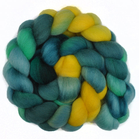 Corriedale Cross Wool Roving - Dandelions 1 - 4.2 ounces