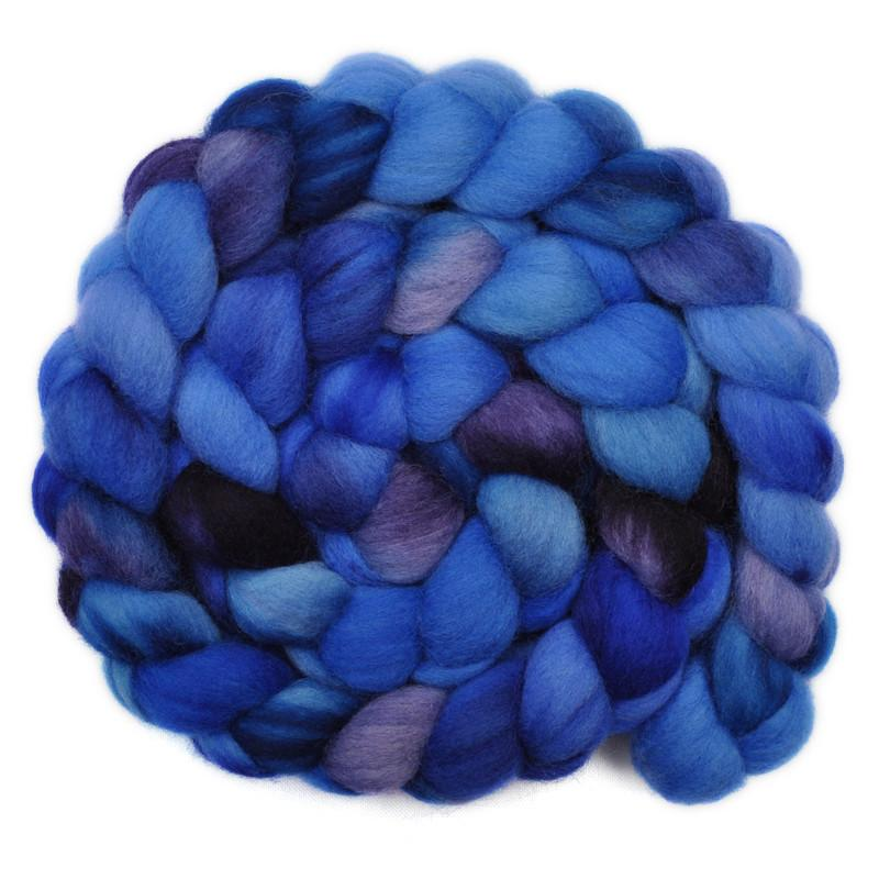 Hand painted Corriedale wool roving for hand spinning and felting