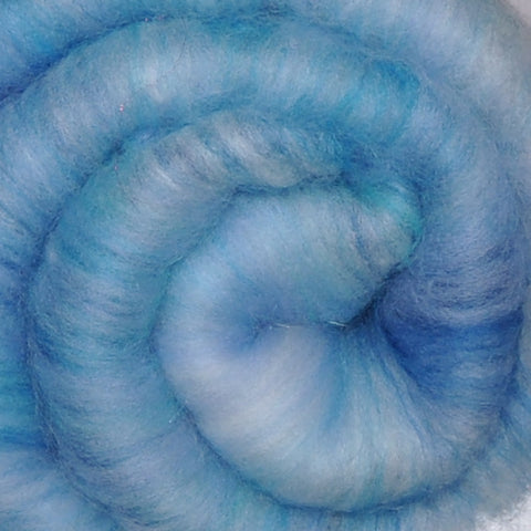 Spinning fiber batt, mixed fibers - Clear Skies - 2.1 ounces