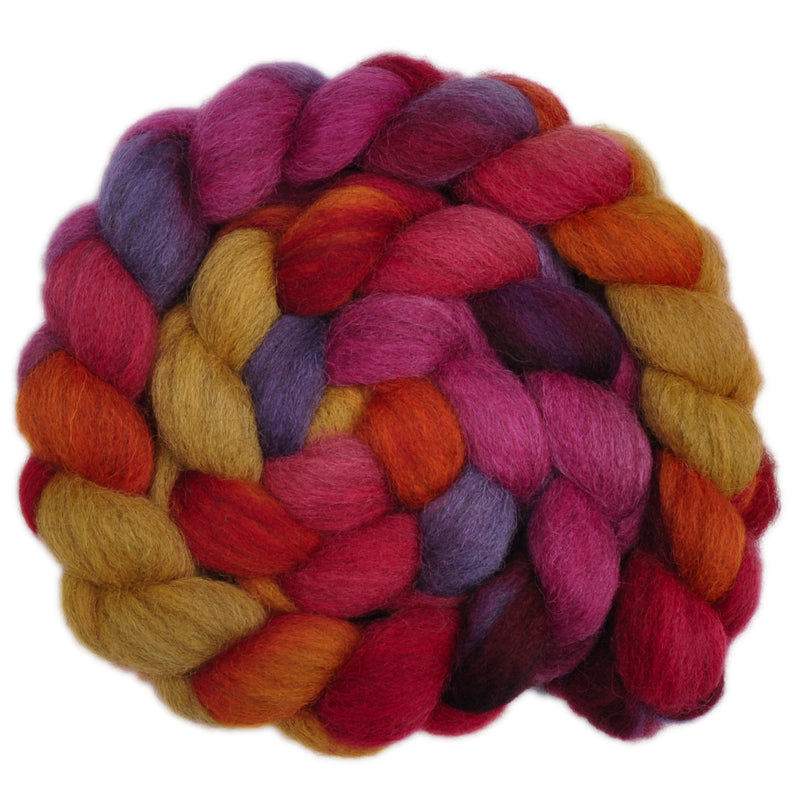 Hand painted Masham wool roving for hand spinning and felting