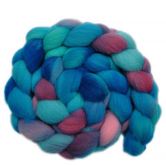 Hand painted Southdown wool / nylon roving for hand spinning
