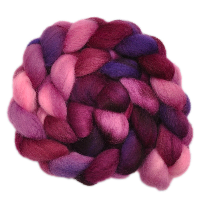 Hand painted New Zealand wool roving for hand spinning and felting