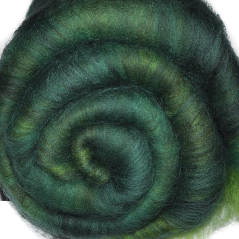 Spinning fiber batt, mixed fibers - Pine Forest - 2.1 ounces
