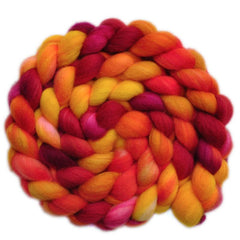 Hand painted Superwash BFL wool / nylon roving for hand spinning