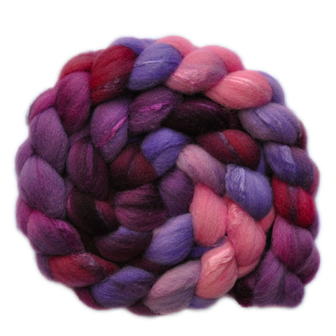 Silk / Shetland 30/70% Wool Roving - Cautious Heart 2 - 3.9 ounces