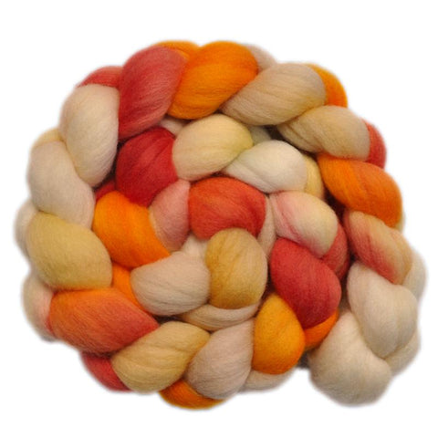 Polwarth Wool Roving - Profusion of Peaches 2 - 3.9 ounces