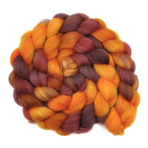 Silk / Polwarth 40/60% Wool Roving - Baltic Amber - 4.1 ounces