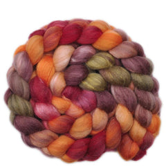 Hand painted Silk / Polwarth wool roving for hand spinning