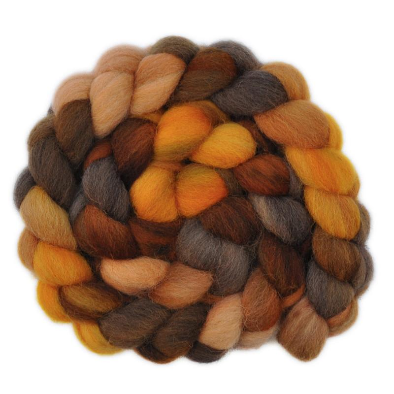 Hand painted Jacob wool / nylon roving for hand spinning