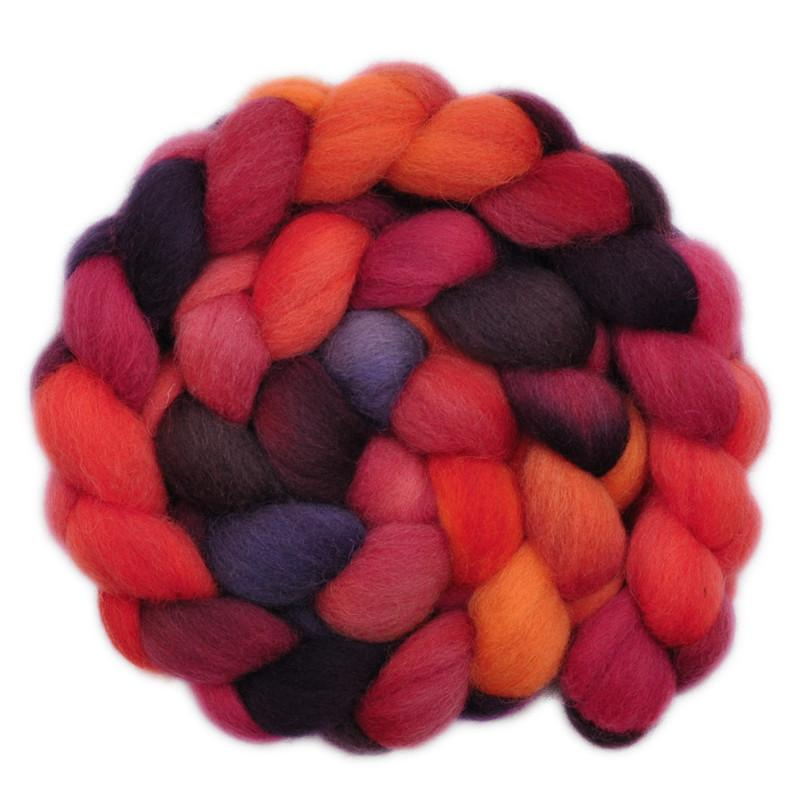 Hand painted Finn wool roving for hand spinning and felting