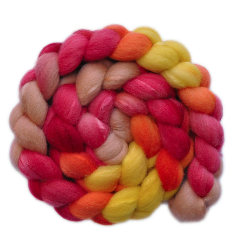 Silk / Shetland 30/70% Wool Roving - Paper Roses 2 - 4.0 ounces