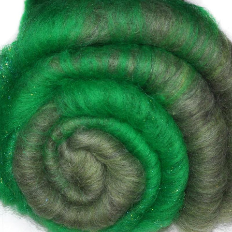Spinning fiber batt, mixed fibers - Little Green Men - 2.1 ounces