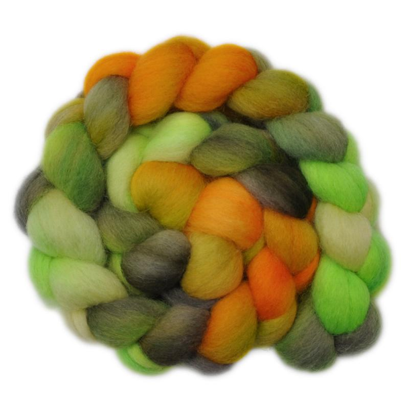 Hand painted Corriedale wool for hand spinning and felting